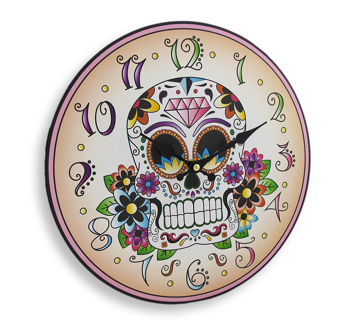 Amazon.com: Things2Die4 Wood Wall Clocks Day Of The Dead Sugar Skull 12 Inch Round Wall Clock 12 X 12 X 1 Inches Off-White: Home & Kitchen