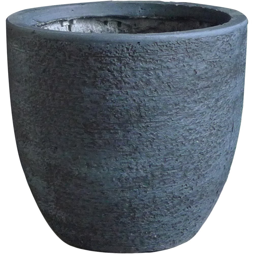 Outdoor Pot Planter Round Made of Clay, Stone and Synthetic Materials in Dark Gray Finish by PrideGardenProducts
