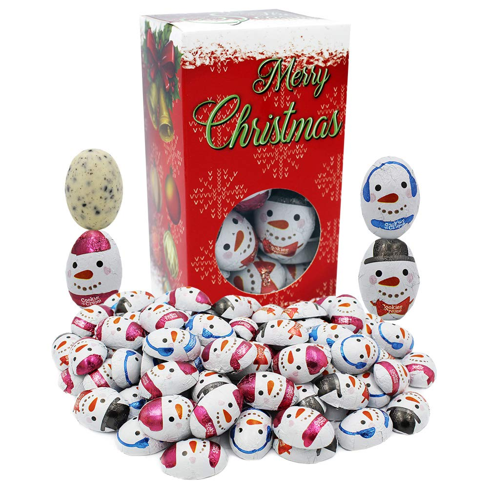 Christmas Milk Chocolate Party Bag Fillers, Individually Wrapped Foils, Kosher Certified (Cookies & Cream Snowmen, 1 Pound)