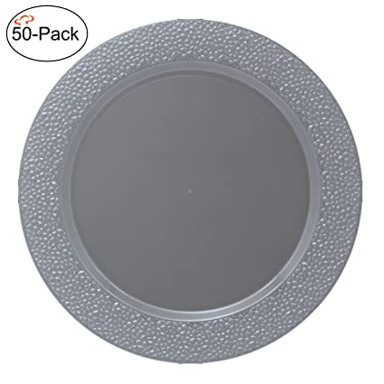 Tiger Chef 50-Pack 13 inch Round Silver Hammered Plastic Charger Plates Disposable Set of  sc 1 st  Amazon.com & Amazon.com: Tiger Chef 50-Pack 13 inch Round Silver Hammered Plastic ...