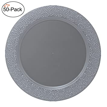 Tiger Chef 50-Pack 13 inch Round Silver Hammered Plastic Charger Plates Disposable Set of  sc 1 st  Amazon.com : plastic charger plates cheap - pezcame.com