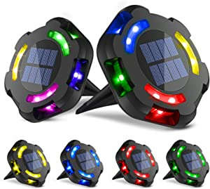 6 Pack Solar Ground Lights, Bright 12 LED Solar Garden Lights Outdoor, Multi-Color Disk Lights Waterproof In-Ground Outdoor Landscape Lighting for Lawn Patio Pathway Yard Deck Walkway Decoration