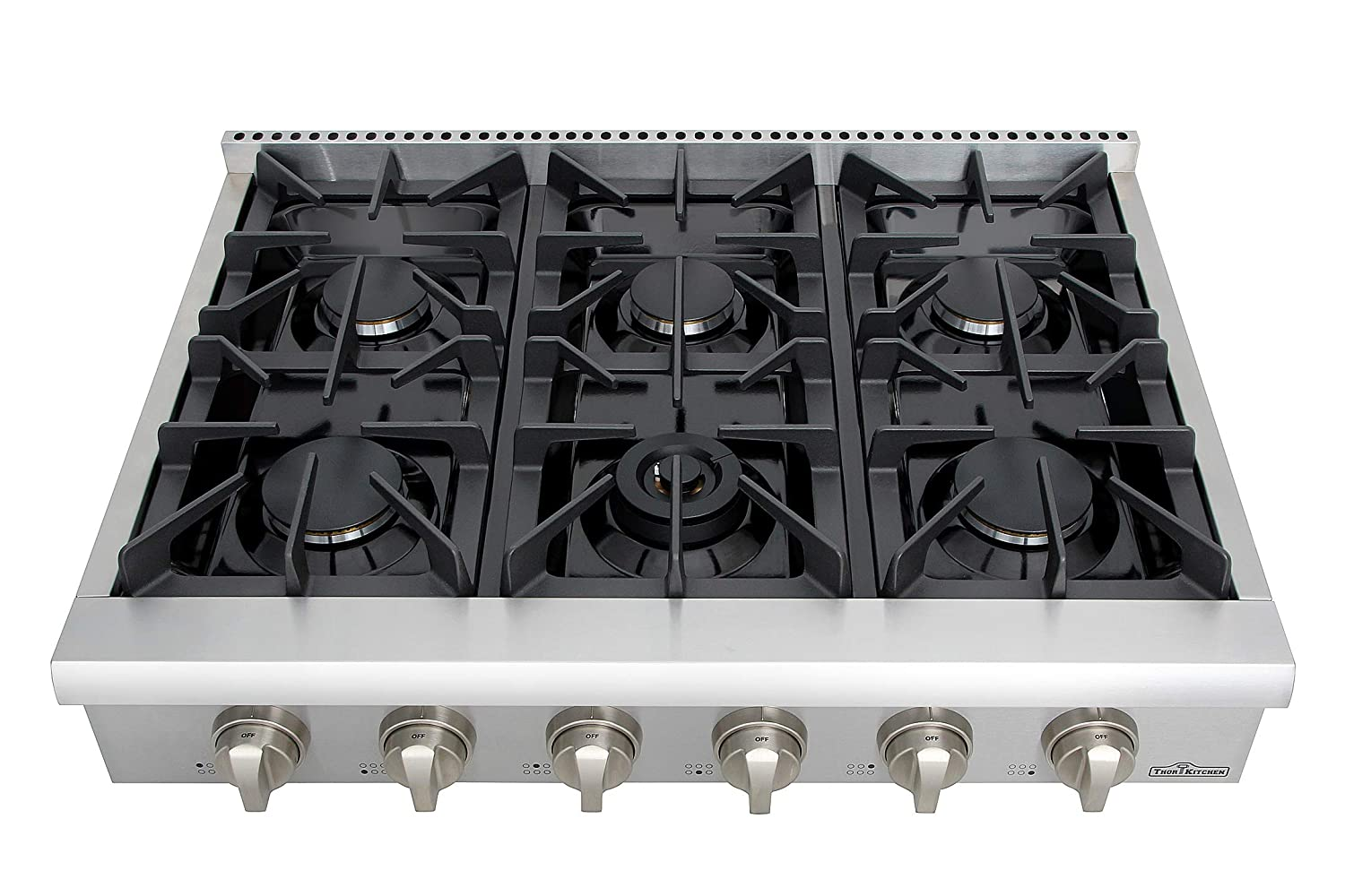 Thor Kitchen 36 High-end Modern Gas Rangetop European Style 6 Burners Built-in Stainless Steel Cooktop Gas Hob for Kitchen HRT3618U