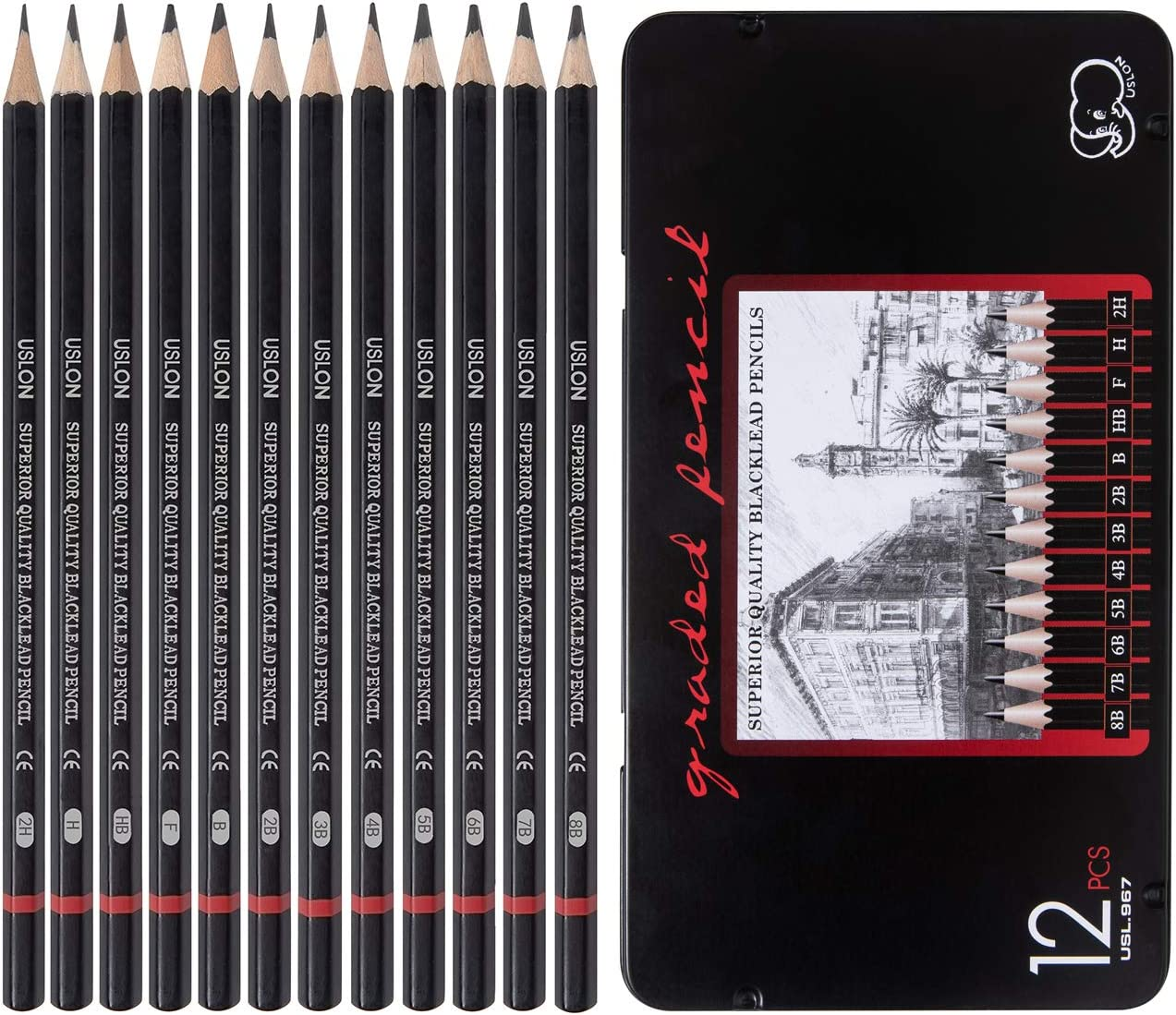 Professional Drawing Sketch Pencils Set of 12, Medium (8B - 2H), Ideal for Drawing Art, Sketching, Shading, Artist Pencils for Beginners & Pro Artists : Office Products