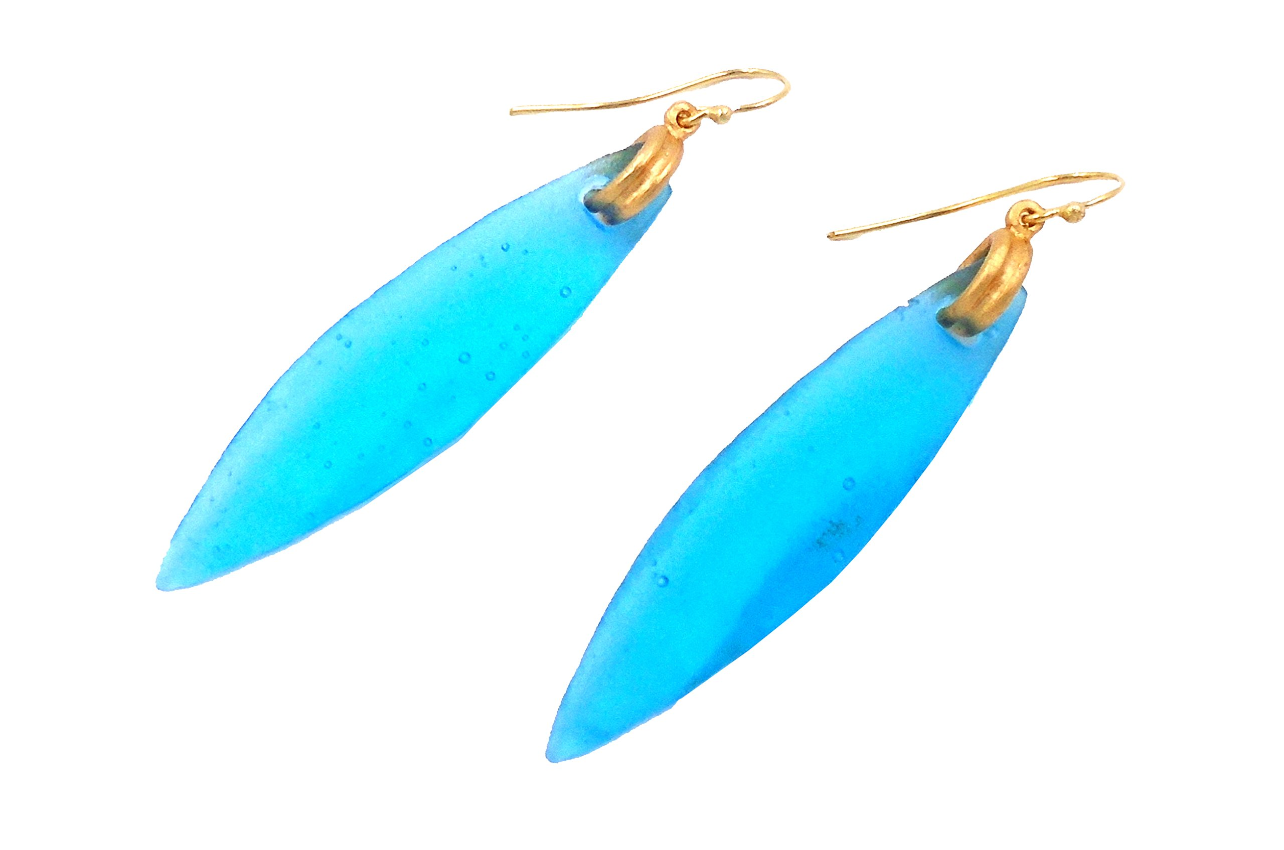 Michael Vincent Michaud- Glass ''Surfboard Hanging Earring'' in Turquoise