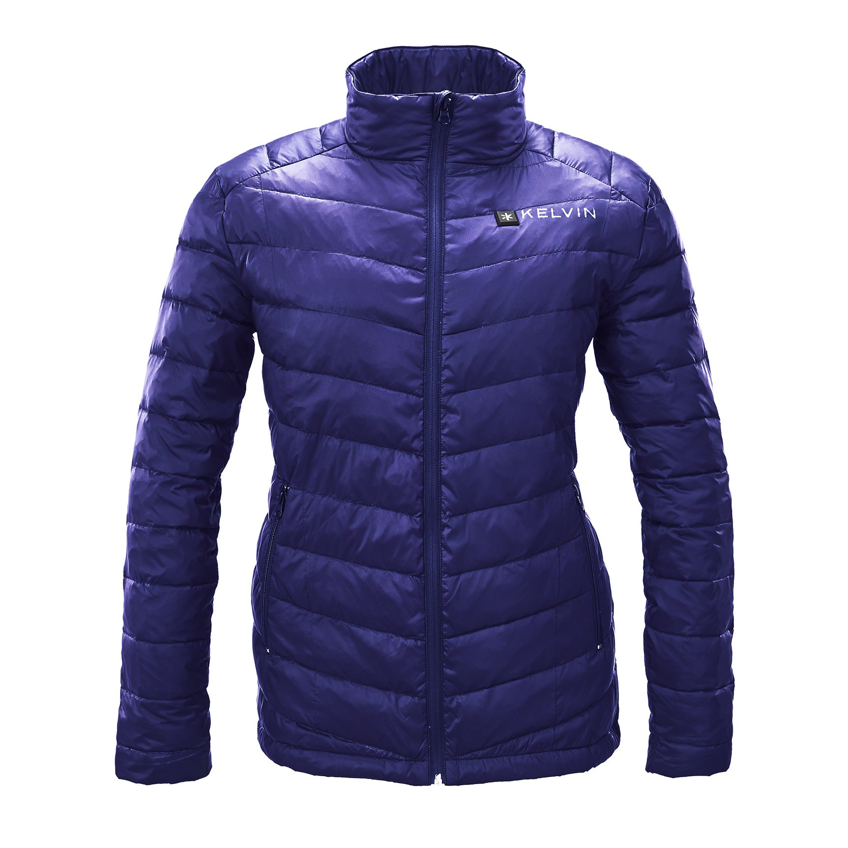 Kelvin Heated Jacket For Women - 5 Heat Zones + 10Hr Battery For The Finest Heated Coat | charges Cell Phones, Extreme Weather + Rip Resistant, 90/10 Duck Down Puffer Jacket | Cermak, Blue - Small