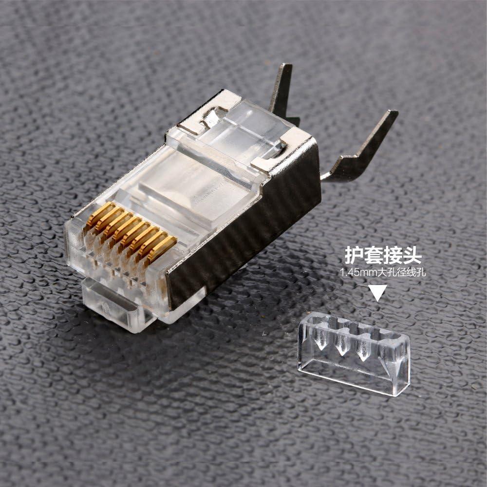 Inkton Shielded RJ45 Connector CAT5E CAT6 Crimp Ethernet Connector STP 8P8C Modular Crystal Head Plugs 100 Pieces