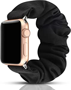 YOSWAN Scrunchie Elastic Watch Band Compatible for Apple Watch Band 38mm 42mm Women Girls Cloth Hair Rubber Band Strap Bracelet for iwatch SE Series 6 5 4 3 2 1 (Black, 42mm/44mm)