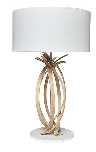 matériau sélectionné Acheter Authentic acheter de nouveaux Lampe de table design en bois et abat jour blanc Julia ...