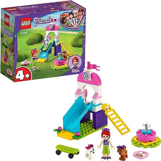 LEGO Friends - Parque para Cachorros, Set de Construcción a Partir de 4 Años, Incluye Mini Muñeca de Mia, dos Perros, un Tobogán, un Monopatín y un Tiovivo (41396): Amazon.es: Juguetes y juegos