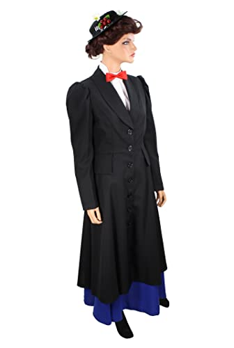 1900s, 1910s, WW1, Titanic Costumes Womens English Nanny Poppins Costume Coat Black $64.95 AT vintagedancer.com
