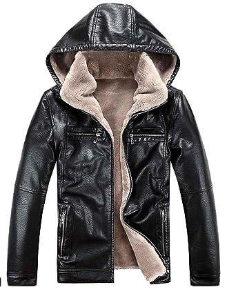 Chaquetas de cuero de la PU de los hombres más abrigos casuales de terciopelo Sombrero Desmontable Invierno cálido jaqueta couro, black, l: Amazon.es: Ropa ...