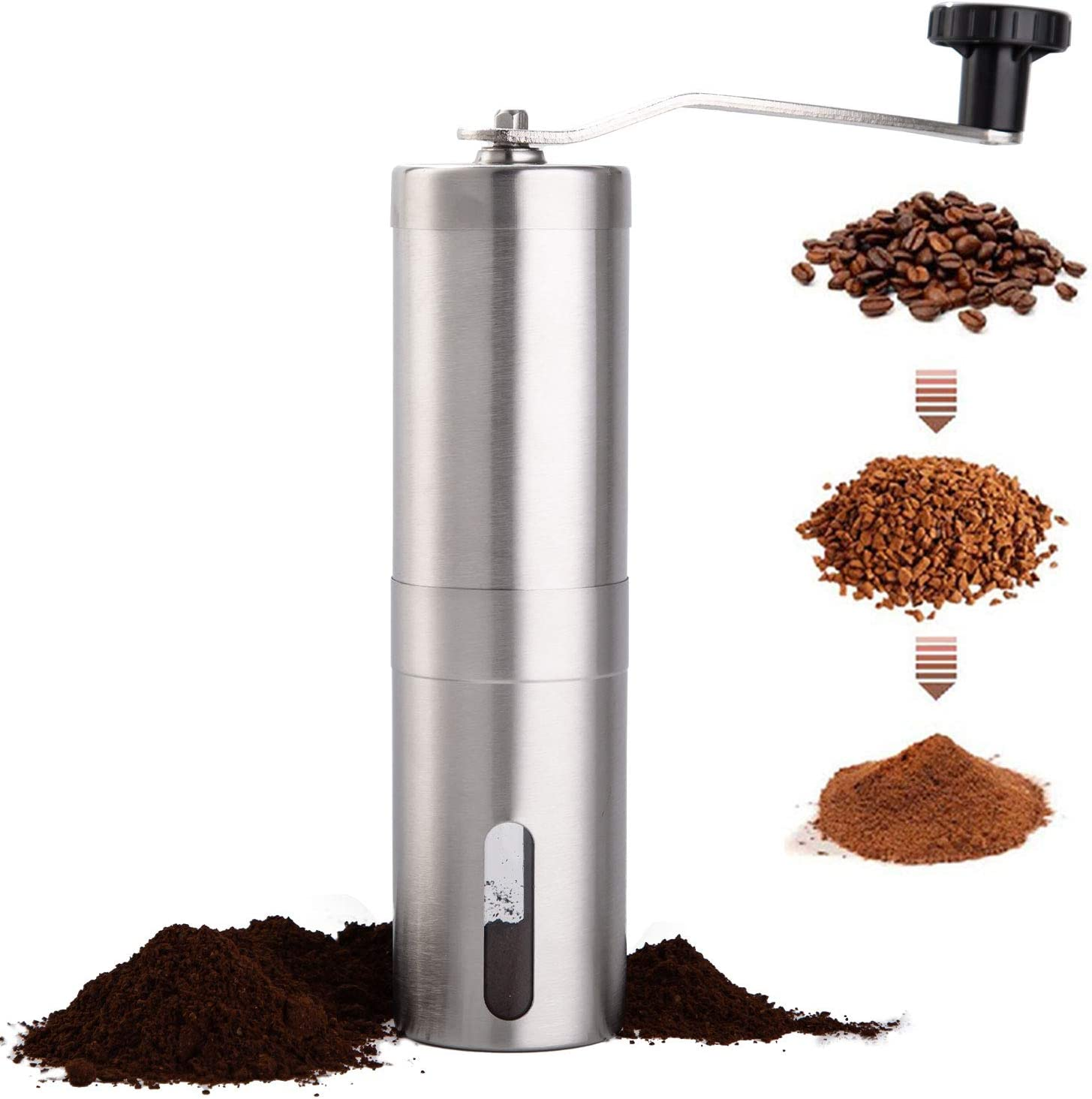 PARACITY Manual Coffee Bean Grinder, Stainless Steel Hand Coffee Mill Ceramic Burr for Aeropress, Drip Coffee, Espresso, French Press, Turkish Brew
