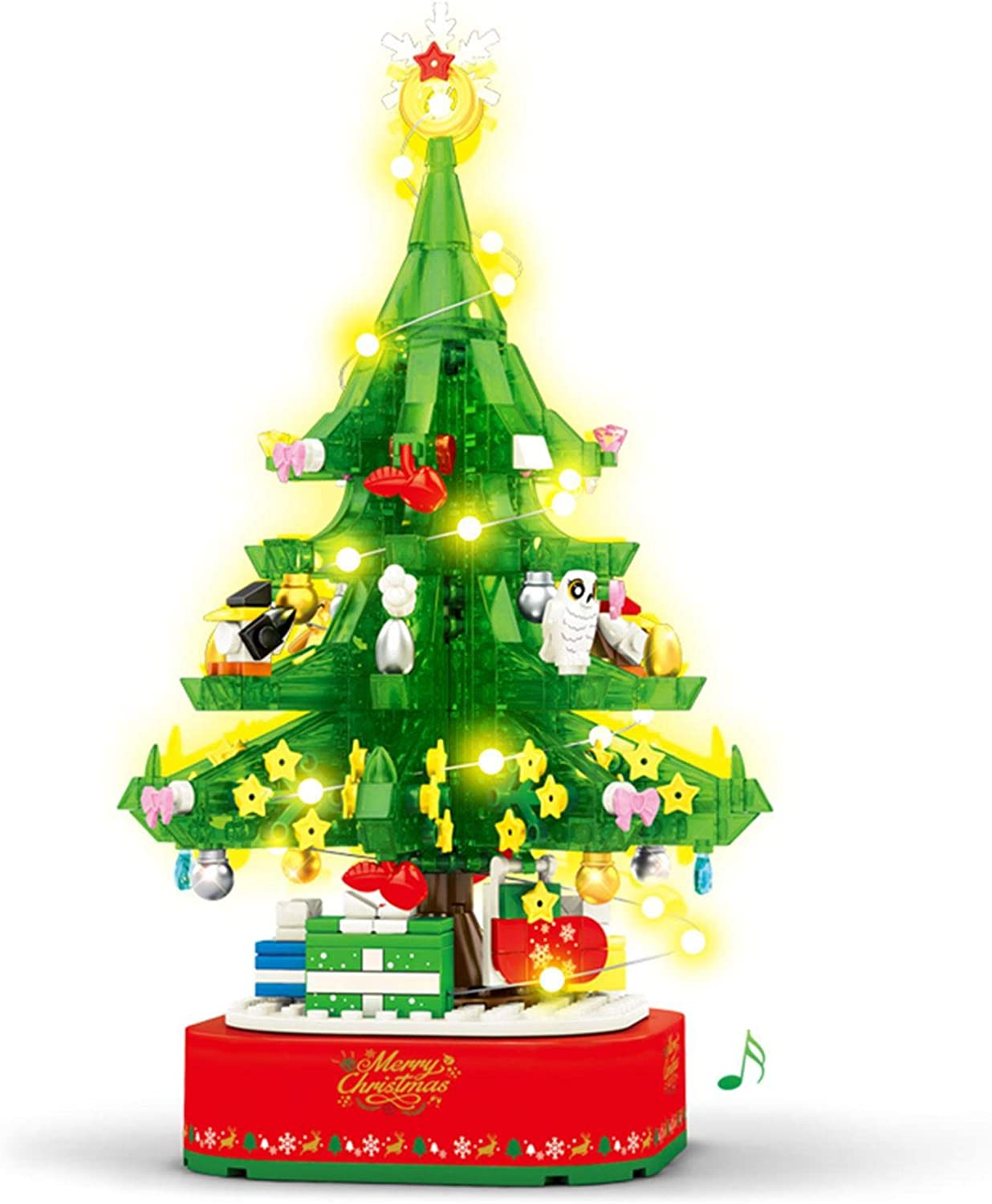 Christmas Tree Rotating Music Box, DIY Creative Miniature Ornaments, Christmas Tree With Pendant Ornaments Music Box ,Assembled Building Block Educational Toy Christmas Tree Table Desk Decoration