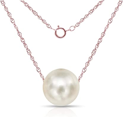 14K Gold Rose Gold or White Gold Chain Necklace Fresh Water Cultured Pearl Necklace