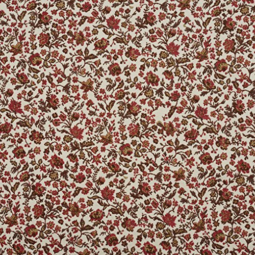 Brown and Coral Floral Calico Upholstery Fabric by the (Brown Calico Fabric)
