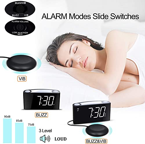 Mesqool Loud Alarm Clock Bed Shaker, Powerful Vibrating for Heavy Sleepers, Deaf, Hearing-Impaired, Kid Bedroom, 7-Color Nightlight, Large Digital Display, Full Range Dimmer, 12 24, 2 USB Port Charger