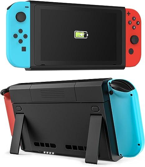 MoKo Nintendo Switch Batería Cargador, [Alta Capacidad] 6500mAh Cargador Recargable Extendido Banco de energía, Cargdor Inteligente Funda con el Soporte para Nintendo Switch Joy-con, Negro: Amazon.es: Electrónica