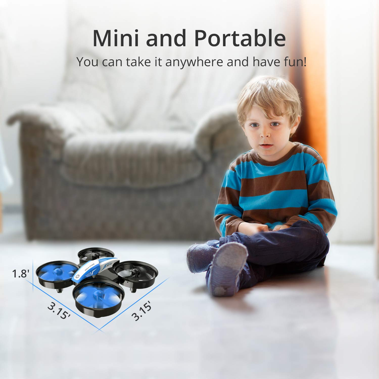 Holy Stone Mini Drone for Kids and Beginners RC Nano Quadcopter Indoor Small Helicopter Plane with Auto Hovering, 3D Flip, Headless Mode and 3 Batteries, Great Gift Toy for Boys and Girls, Blue by Holy Stone (Image #5)