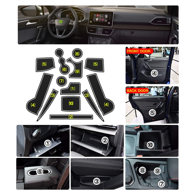 Antipolvo RUIYA 5 plazas con Logotipo Esterillas Antideslizantes para la Ranura de la Puerta del Coche para Seat Tarraco 2019 2020