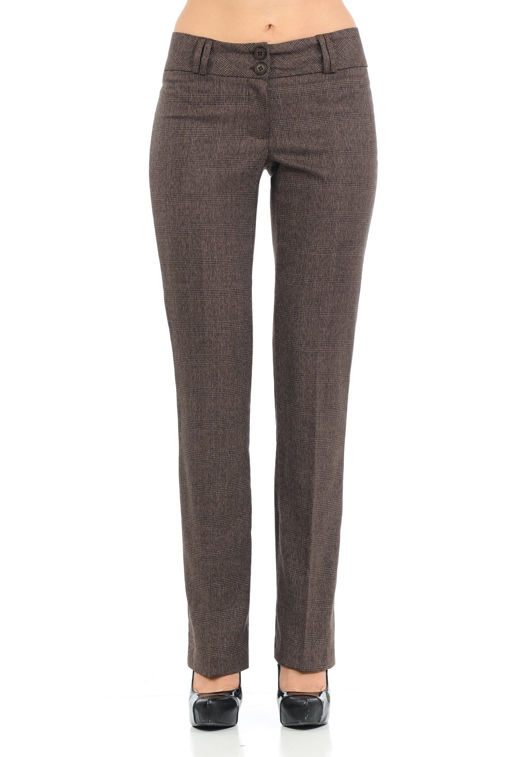 Sweethabit Womens Button Flaps Two Tone Straight Fit Trouser Pants. (Small, 2707N Plaid Brown)