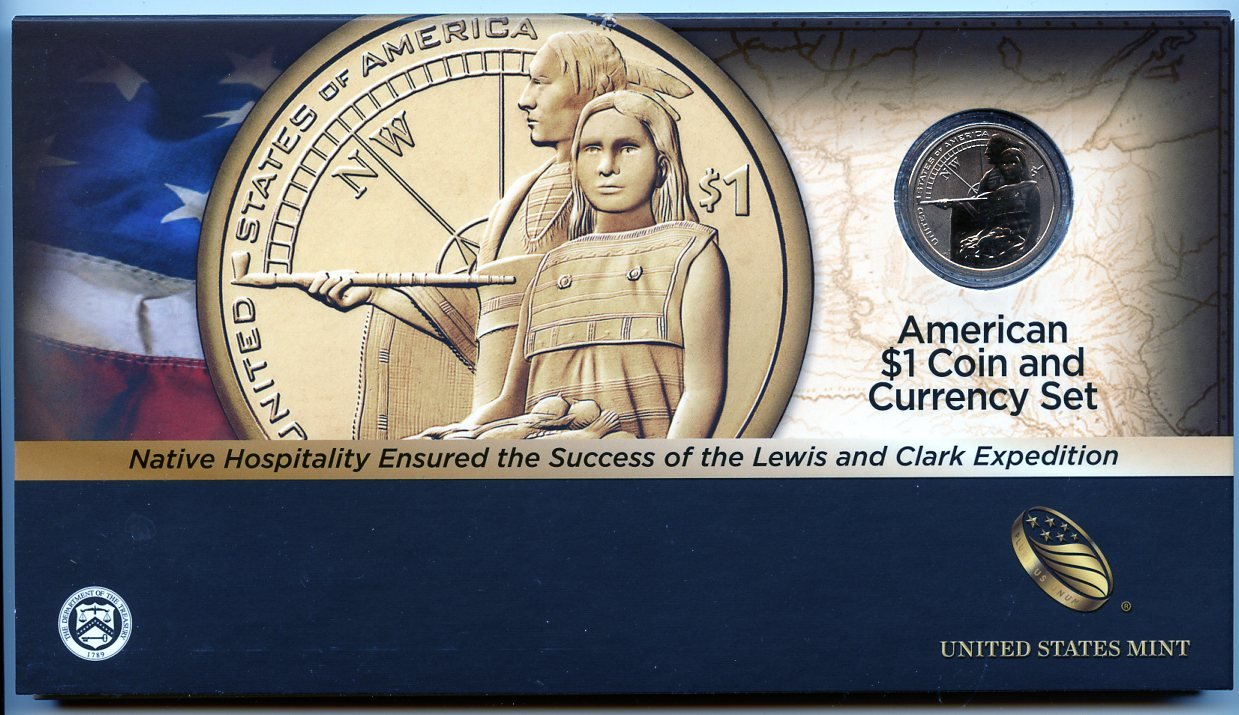 2014 D American $1 Coin & Currency Set Enhanced Uncirculated