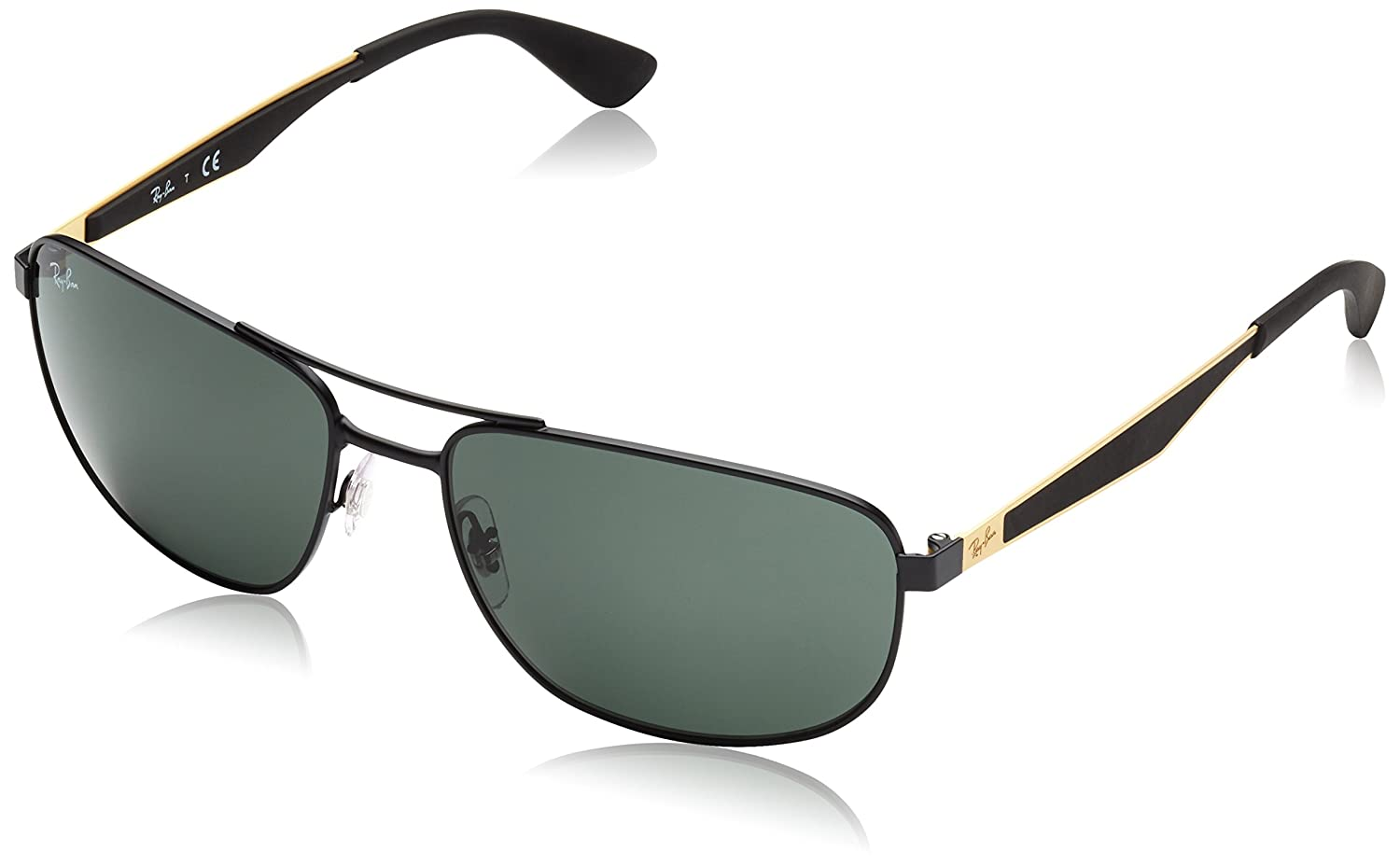 b202ec423ce73 Amazon.com  Ray-Ban METAL MAN SUNGLASS - MATTE BLACK Frame GREEN Lenses  58mm Non-Polarized  Clothing