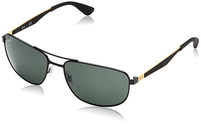 14f54bcf80a Ray-Ban METAL MAN SUNGLASS - MATTE BLACK Frame GREEN Lenses 58mm  Non-Polarized