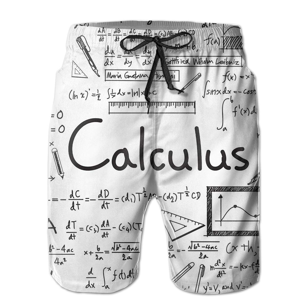 Feimao Calculus Math Equations Mens Beach Pants Summer Casual Short Pants with Pockets