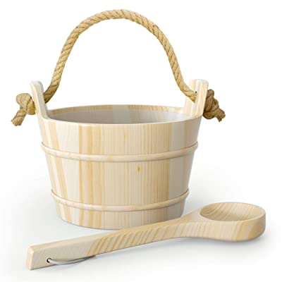 Northwood Sauna - Premium Wooden Sauna Bucket with Ladle and Plastic Inlay - Handmade with 100% Top Quality Pine Wood - Rope Handle for Ease of Use - 4 Liters (1 Gallon) : Garden & Outdoor