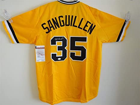 newest a8424 891ce MANNY SANGUILLEN SIGNED AUTO PITTSBURGH PIRATES YELLOW ...
