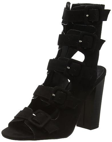 0fd60dfd3e Boohoo Women's Buckle Up Peep Toe Shoe Boot Open Sandals, (Black Suede),
