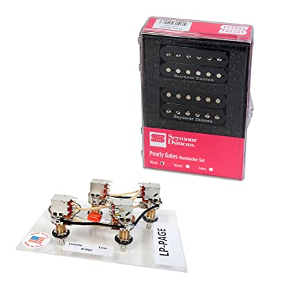 amazon com: duncan pearly gates humbucker pickup set, black + page les paul  wiring harness: musical instruments