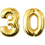 NUOLUX 52.49 Inch Gold Foil Balloon,Jumbo Number 30th Balloon for Festival Birthday Anniversary Party Decorations Photo Props