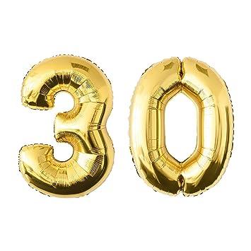 NUOLUX 52.49 pulgadas de oro de la hoja de globo, Globo Jumbo número 30 para el cumpleaños del festival Aniversario de la fiesta Decoraciones Photo Props: ...