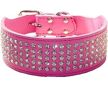 Pink 5 Rows Bling Rhinestone Pet Dog Collars Fancy Diamond Large Dog Necklace
