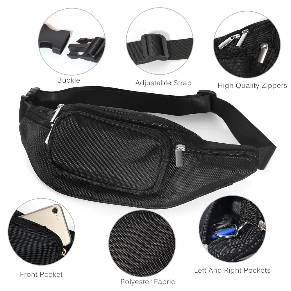 LOKEP Fanny Pack Waist Bag for Men Women Earphone Hole with 6 Pockets Adjustable Band Easy Carry Any Phone Passport Wallet Water Resistant Holder Workout Hiking Traveling Running
