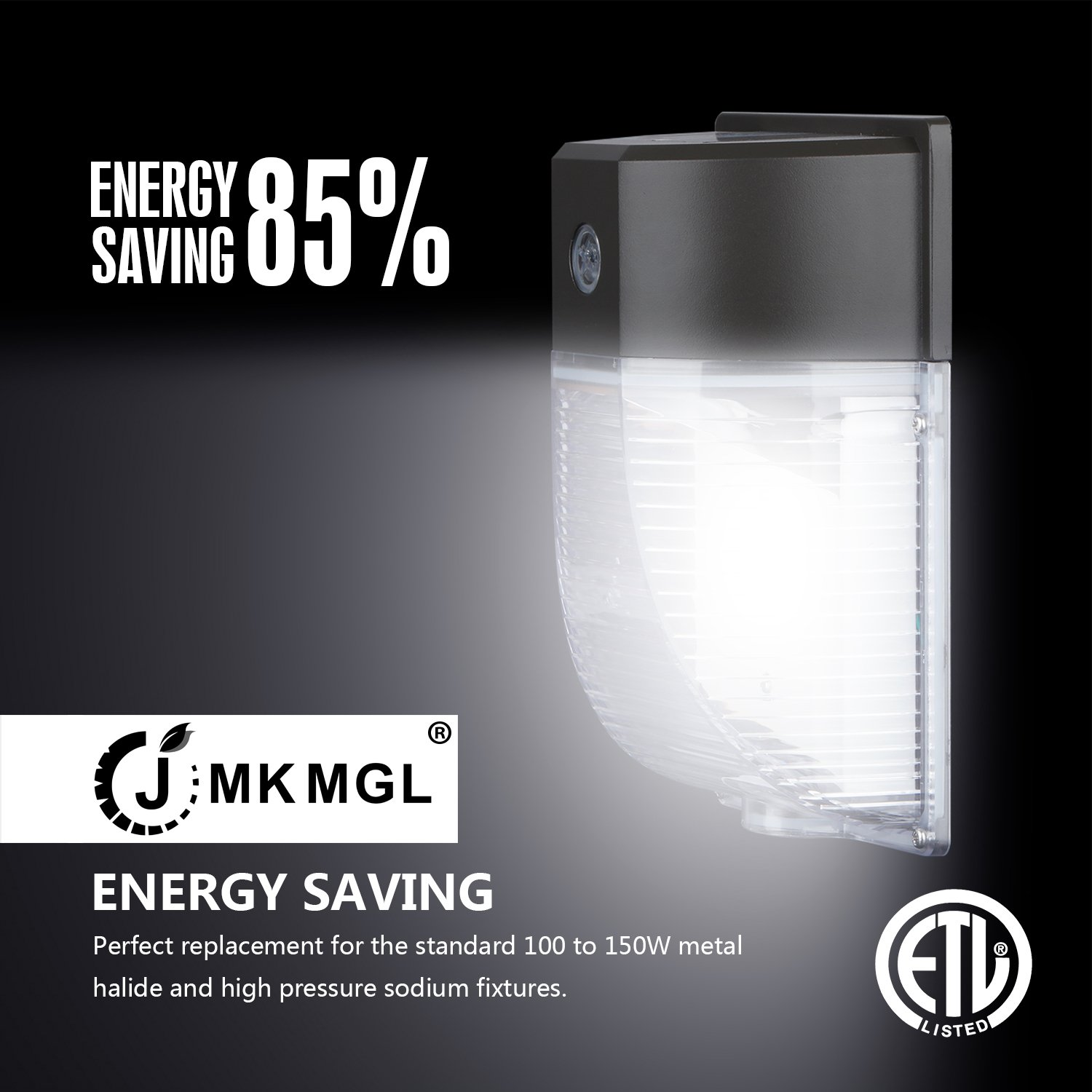 JMKMGL 18W LED Wall Pack Light,With Photocell Dusk to Dawn,2000lm 5000K,100-150W MH/HPS Replacement,100 to 277Vac,IP65 Waterproof,Outdoor Security Lighting,ETL Listed(Bronze Glossy Finished)