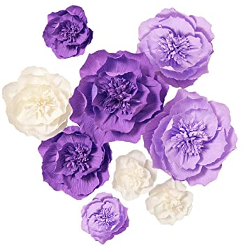 Ling S Moment Paper Flower Decorations 7 X Crepe Paper Flower 8 4 Assorted Handcrafted Purple Cream Flowers For Wedding Baby Nursery Bridal