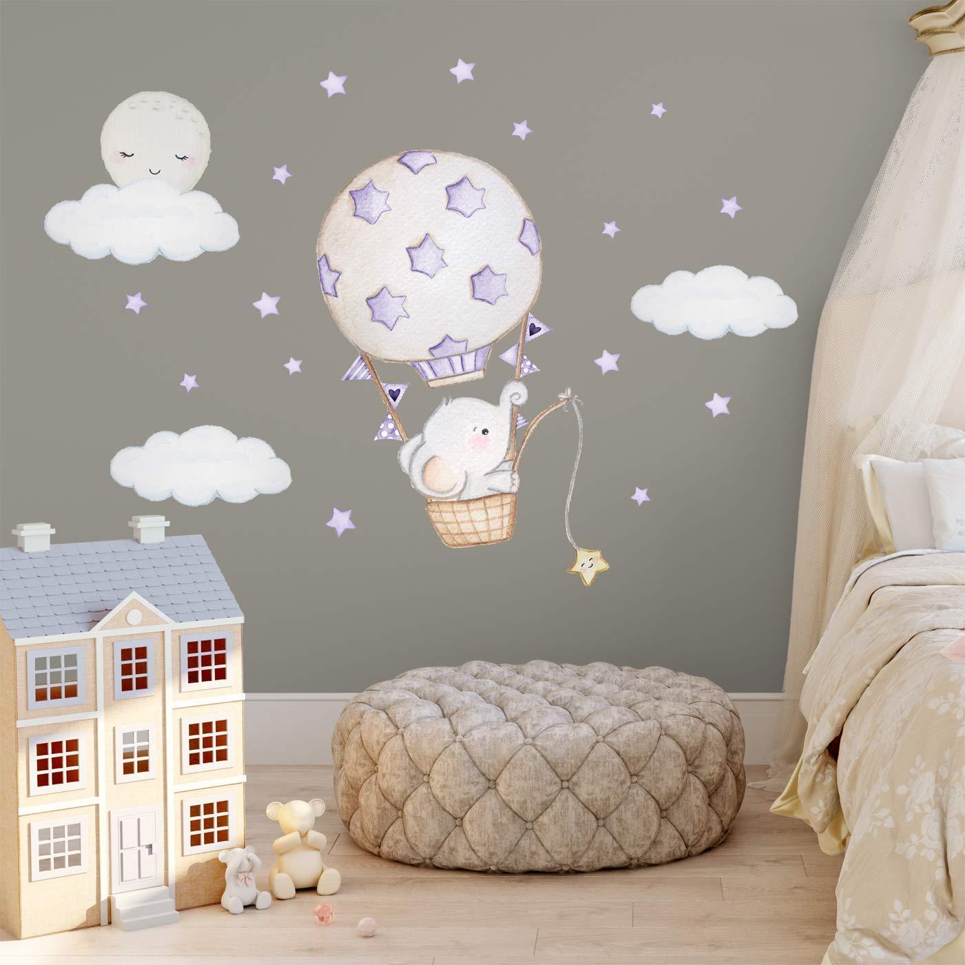 Elefant Kinderzimmer Deko Wand Junge Ballon Sticker Heissluftballon Deko Baby Wandsticker Elefant Babyzimmer Aufkleber Kinderzimmer Wandaufkleber Jungen Babyzimmer Wandtattoo Tiere Babyzimmer Deko Mint