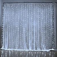 NEXGADGET Luces de Cortina LED 3m* 3m, Luces al Aire Libre de Blanco Resistente al Agua, Codena de Luces de Navidad con 8 Modelos de Iluminación para la Decoración de Fiestas y Bodas, etc