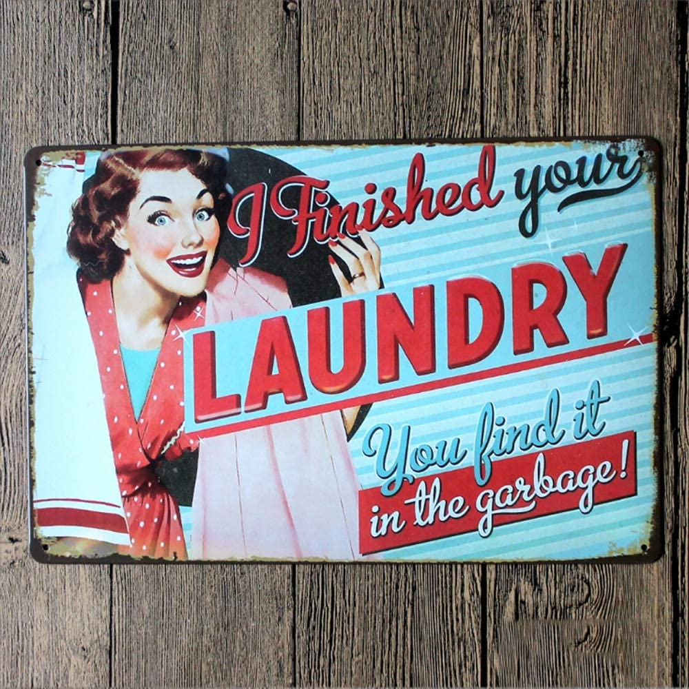 Original Retro Design Finished Your Laundry Service Tin Metal Wall Art Signs, Thick Tinplate Wall Decoration Print Poster for Laundry Room (Laundry, 8x12 Inches (20x30 cm))