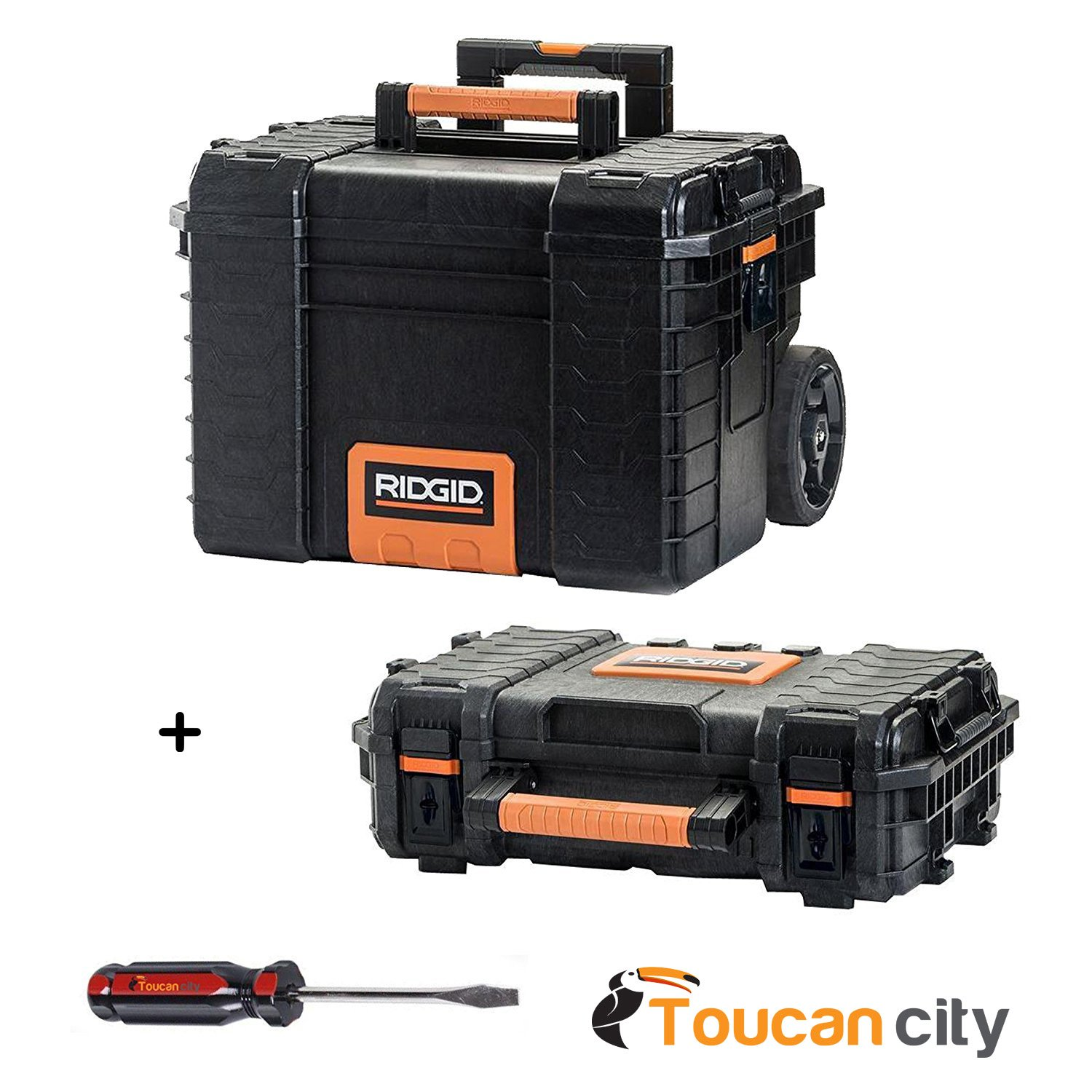 RIDGID Professional Tool Storage Cart and Organizer Stack, 2 Tool Box Combination And Toucan City Screwdriver by Ridgid - Toucan City (Image #1)
