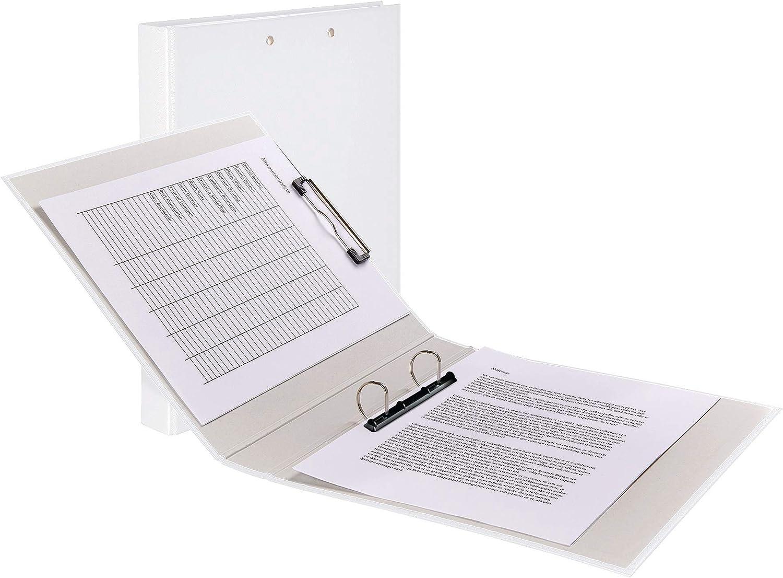 Original Falken 5er Pack Clipbook Made in Germany PP-Color Kunststoff-Ringbuch mit einer 2 Ring D-Mechanik und einer Metallklemme DIN A4 F/üllh/öhe 25 mm rot Ring-Ordner Hefter Klemmbrett