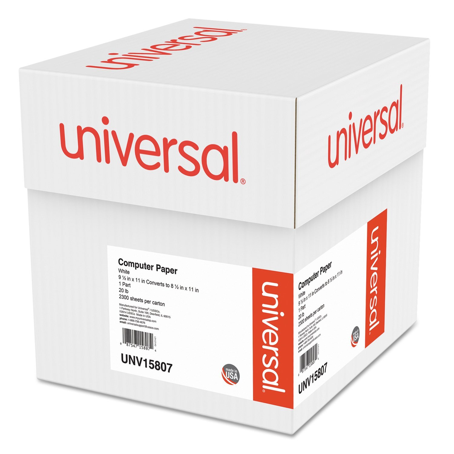 Universal Computer Paper, 20lb, 9-1/2'' x 11'' , Letter Trim Perforation, White, 2300 Sheets (15807)