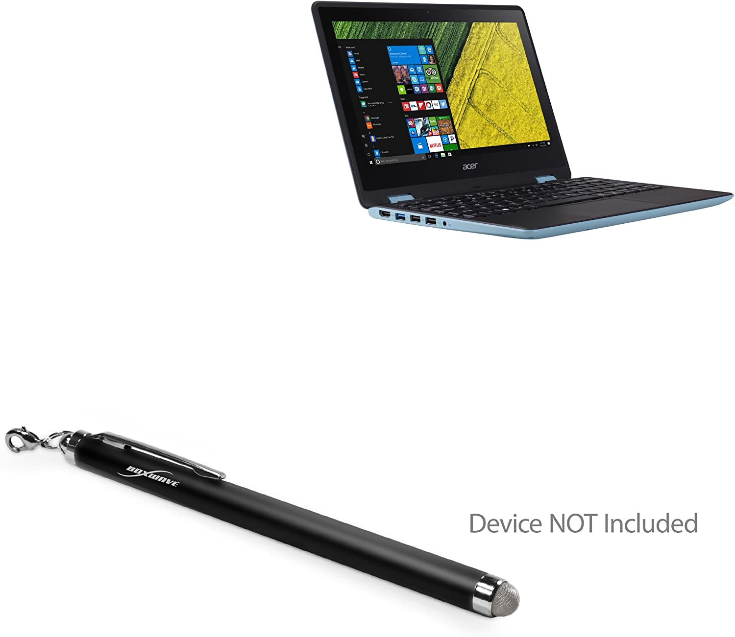 Acer Spin 5 Stylus Pen, BoxWave [EverTouch Capacitive Stylus] Fiber Tip Capacitive Stylus Pen for Acer Spin 5 - Jet Black