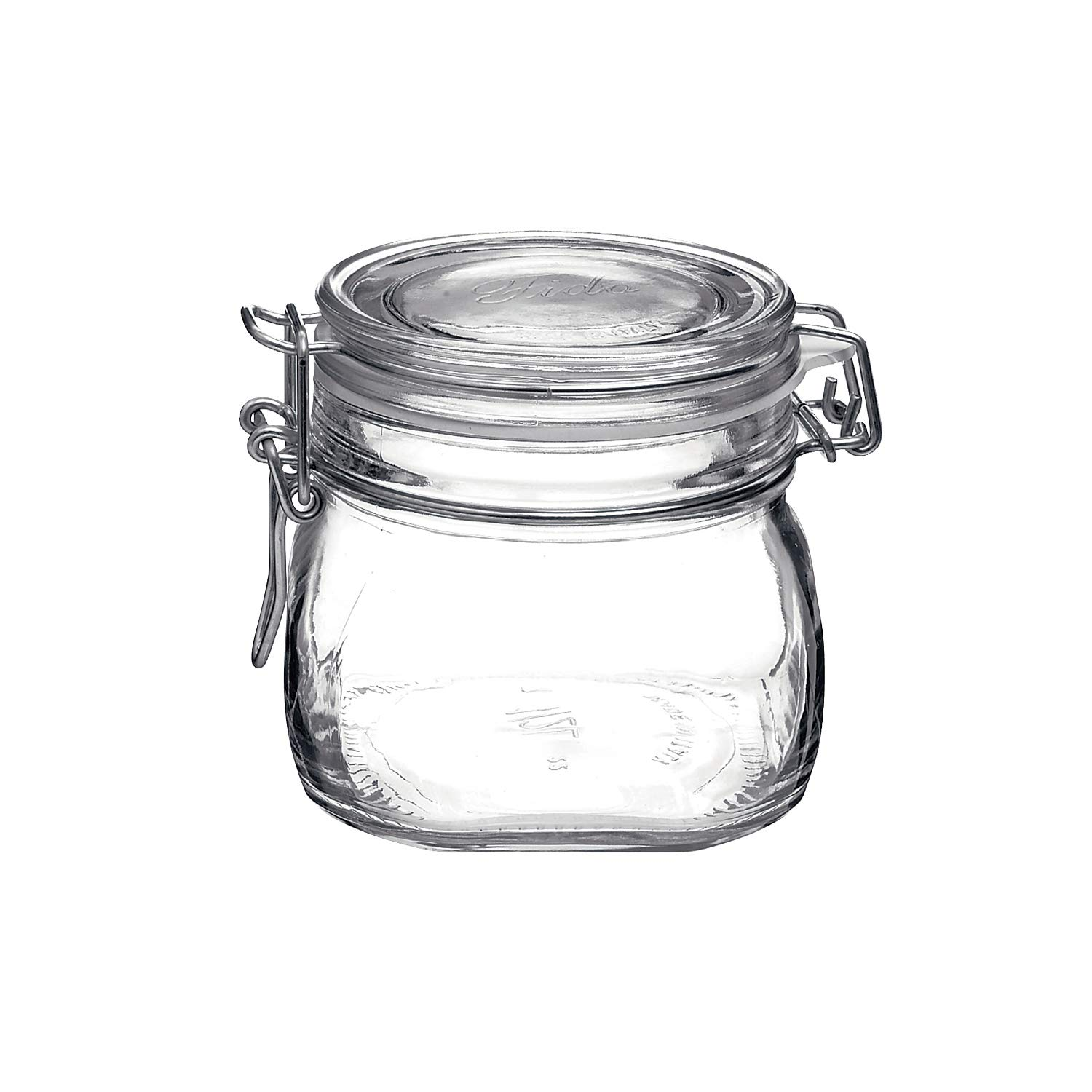 Bormioli Rocco Fido 17.5 Ounce Glass Storage Jars: Airtight Hinged Lid With Leak Proof Gasket, Wide Mouth Food Container - For Zero Waste Air Tight Preserving Jam, Spices, Coffee, Sugar & Herbs