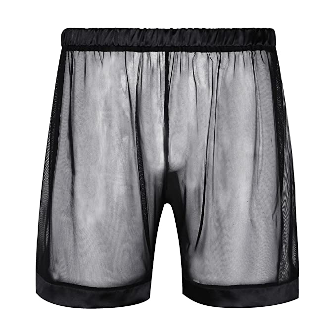 Freebily Pantalones Cortos de Malla Transparente Hombre Short Bóxer Ropa Interior para Hombre Negro M