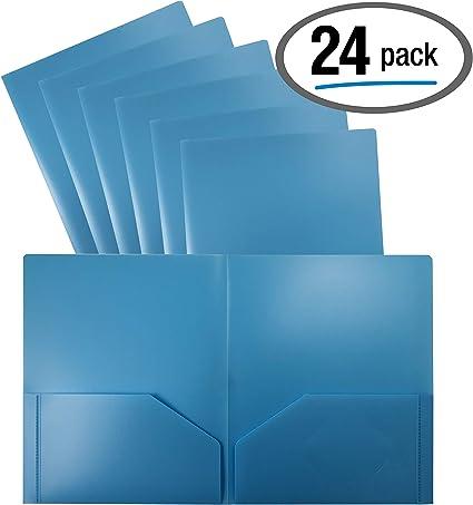 Carpeta portafolios de plástico azul claro de 2 bolsillos, paquete de 24, carpetas de tamaño carta de poliéster, por Better Office Products, paquete de 24, azul claro: Amazon.es: Oficina y papelería