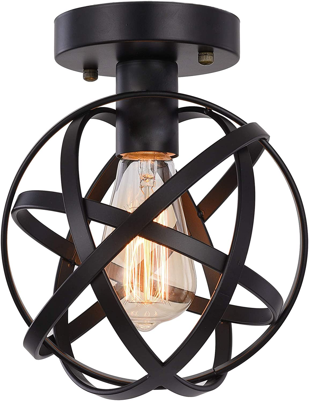 Metal Globe Ceiling Light SEEBLEN Semi-Flush Mount Pendant Ceiling Light with Mini Metal Cage Ceiling Lighting Fixture for Foyer Black